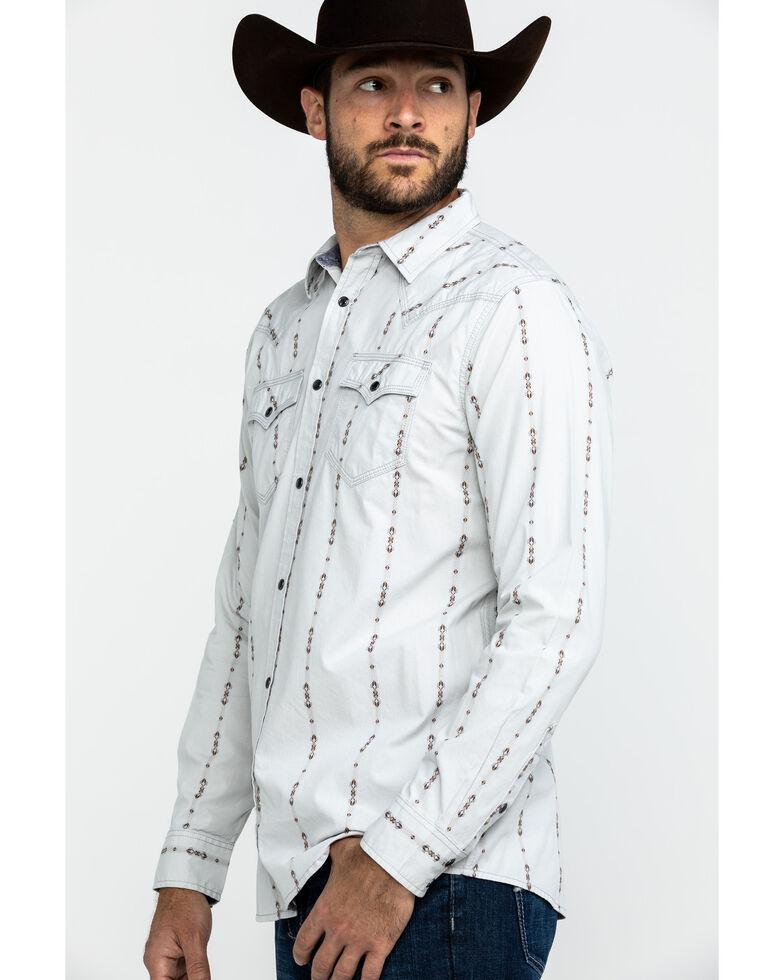 Moonshine Spirit Men's Tiki Torch Striped Dobby Print Long Sleeve Western Shirt , Grey, hi-res