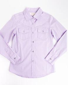 Shyanne Girls' Purple Rhinestone Long Sleeve Western Shirt , Purple, hi-res