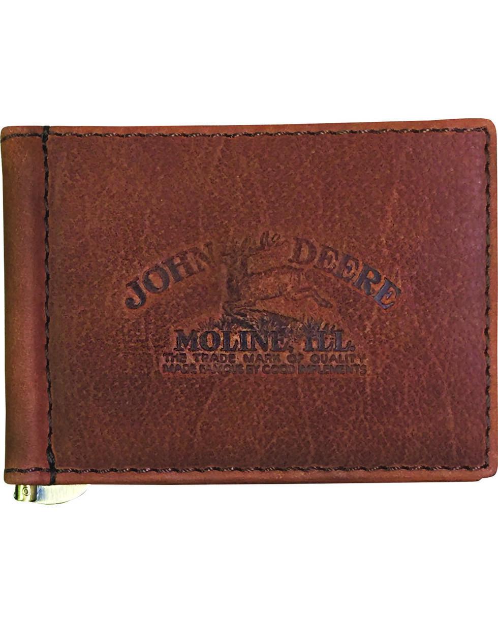 John Deere Men's Vintage Distressed Front Pocket Wallet , Brown, hi-res