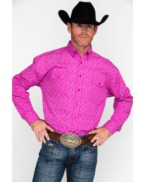 Panhandle Select Men's Pink Peached Poplin Print Long Sleeve Western Shirt , Pink, hi-res