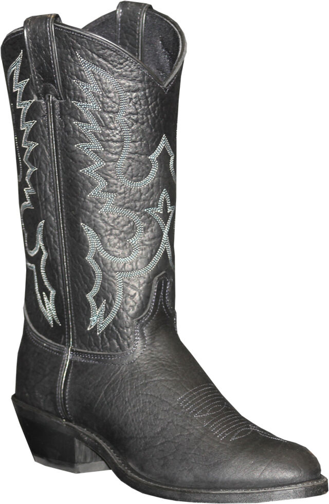 Abilene Sage Black Cowboy Boots - Medium Toe, Black, hi-res