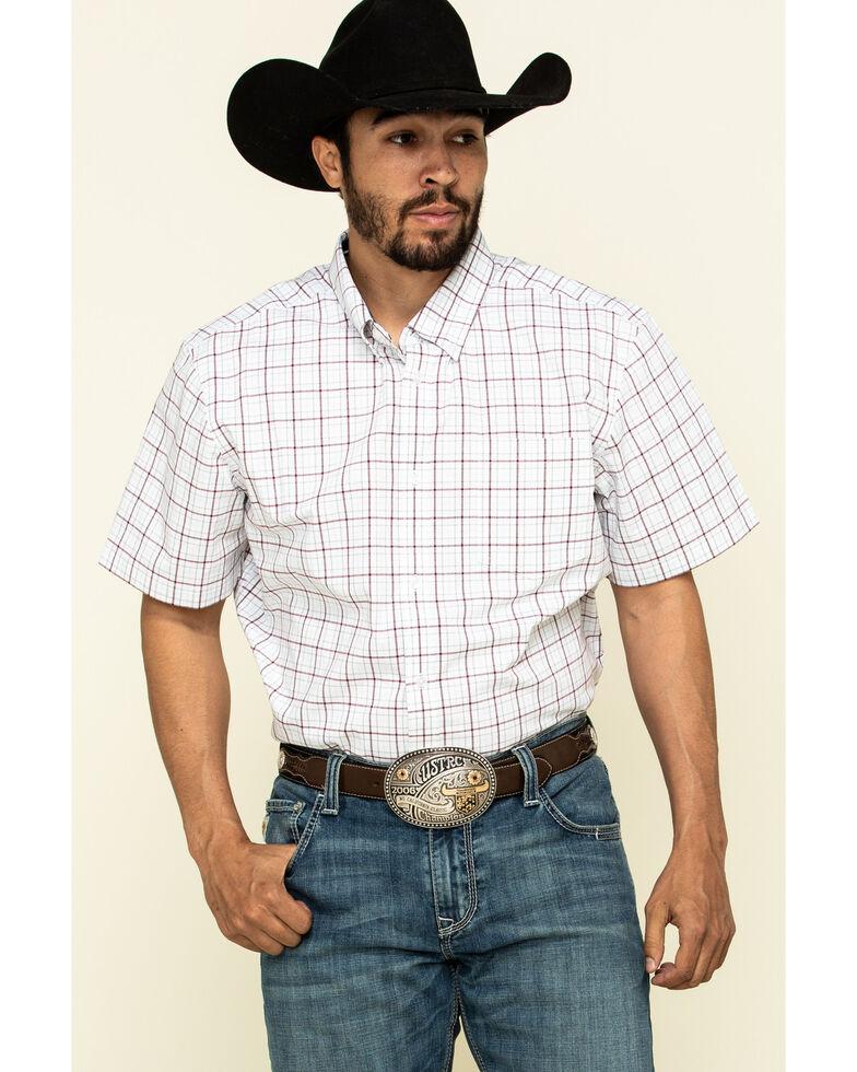 Cody James Core Men's Badlands Small Plaid Short Sleeve Western Shirt - Big , Maroon, hi-res