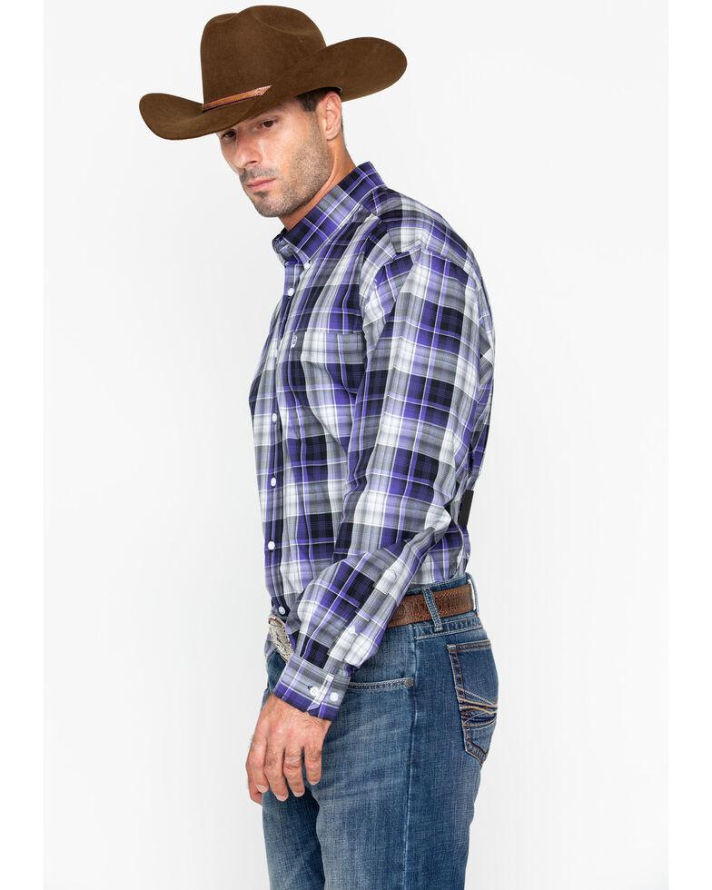 Cinch Men's Purple & Black Long Sleeve Western Shirt, Wine, hi-res