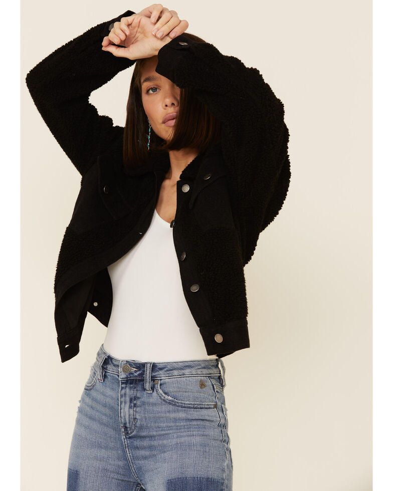26 International Women's Black Sherpa Lined Denim Jacket , Black, hi-res