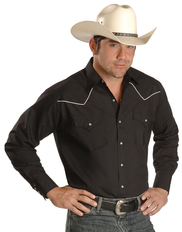 Ely Cattleman Contrasting Piped Yoke Western Shirt, Black, hi-res