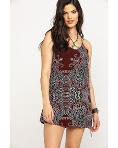 Shyanne Women's Burgundy Paisley Print Slip Dress, Burgundy, hi-res