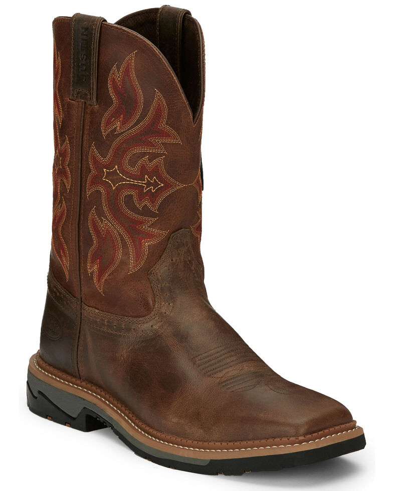 "Justin Men's 11"" Stampede Comp Toe Work Boots, Tan, hi-res"