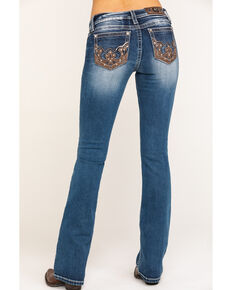 "Miss Me Women's Western Leather Chloe 34"" Bootcut Jeans, Blue, hi-res"