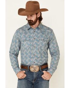 Cody James Men's Hank Geo Print Long Sleeve Snap Western Shirt , Blue, hi-res