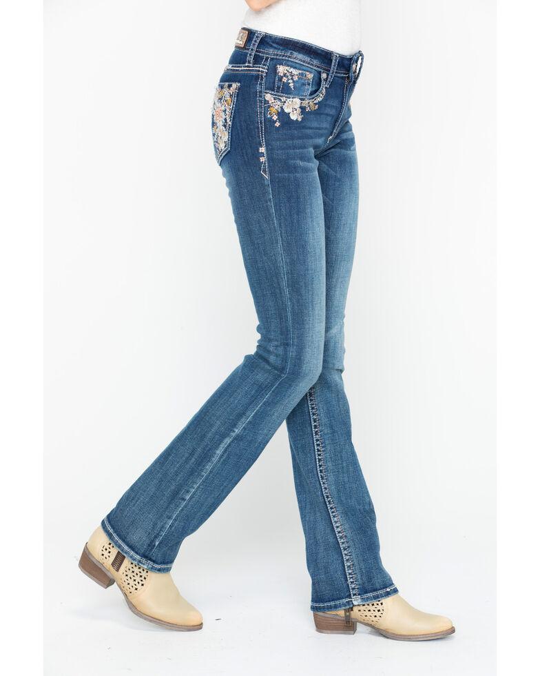 Grace In LA Women's Pastel Floral Pocket Boot Jeans , Indigo, hi-res