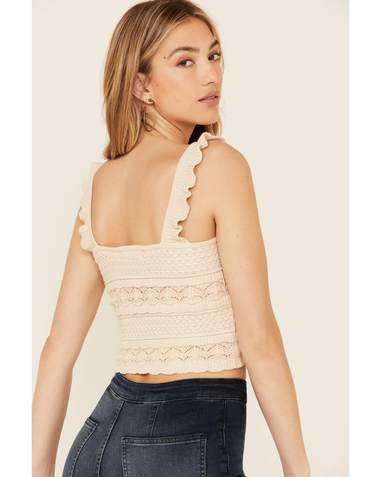 By Together Women's Natural Jacquard Sweater-Knit Cropped Tank Top , Beige, hi-res