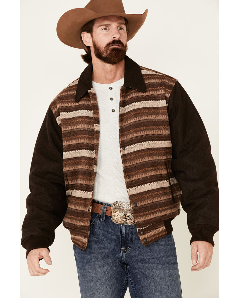 Cripple Creek Men's Brown Horizontal Pattern Snap Front Bomber Jacket , Brown, hi-res