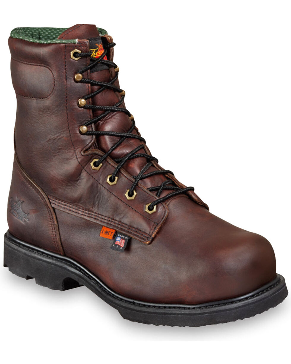 "Thorogood Men's 8"" I-MET2 Work Boots - Steel Toe, Brown, hi-res"