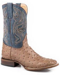 Roper Men's Caiman Embossed Western Boots - Square Toe, Tan, hi-res