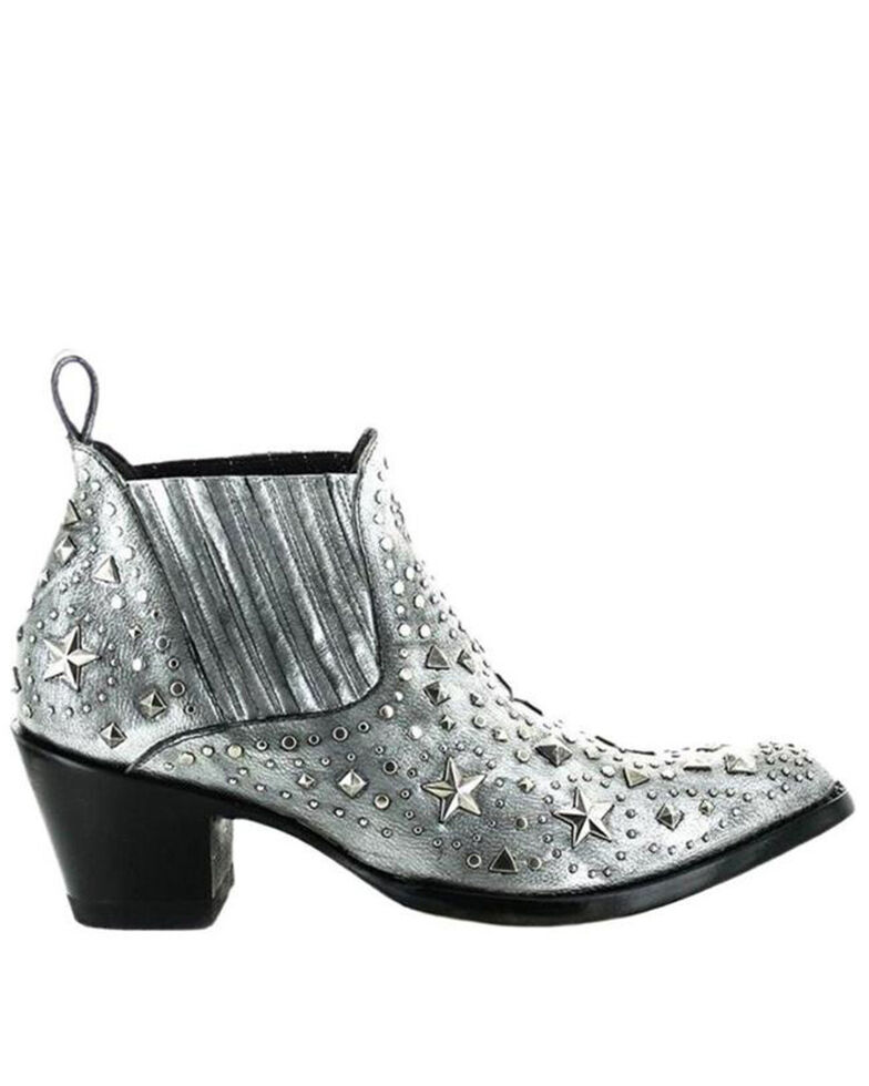 Old Gringo Women's Metal Star Fashion Booties - Round Toe, Silver, hi-res