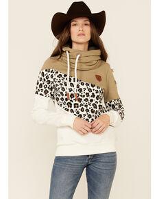 Wanakome Women's Khaki & Beige Leopard Print Selene Asymmetrical Pullover Hoodie , Beige/khaki, hi-res