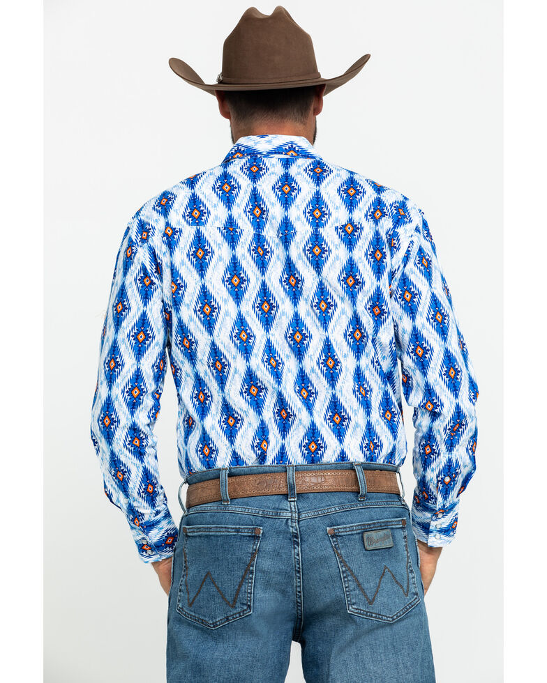 Wrangler Silver Edition Men's Blue Aztec Checotah Striped Long Sleeve Western Shirt , Blue, hi-res