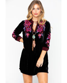 Johnny Was Women's Solid Marcella Embroidered Velvet Henley Dress, Black, hi-res