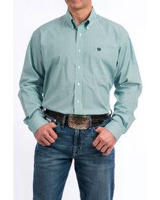 Cinch Men's Light Blue Diamond Geo Print Long Sleeve Western Shirt , Light Blue, hi-res
