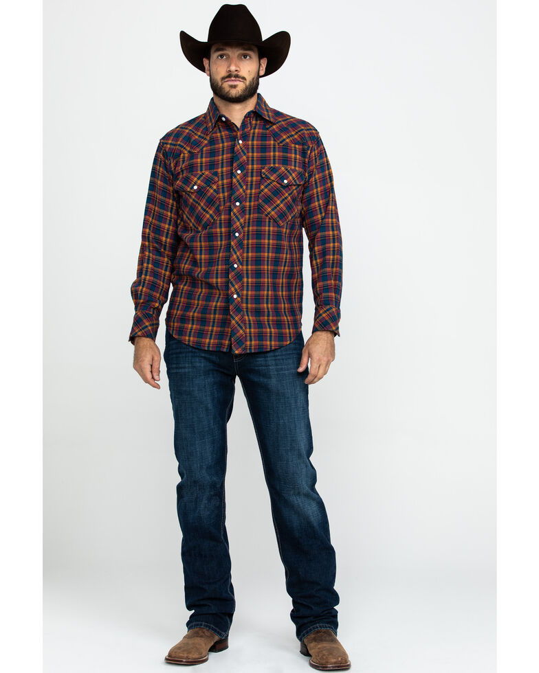 Resistol Men's Granbury Med Plaid Long Sleeve Western Shirt , Red, hi-res