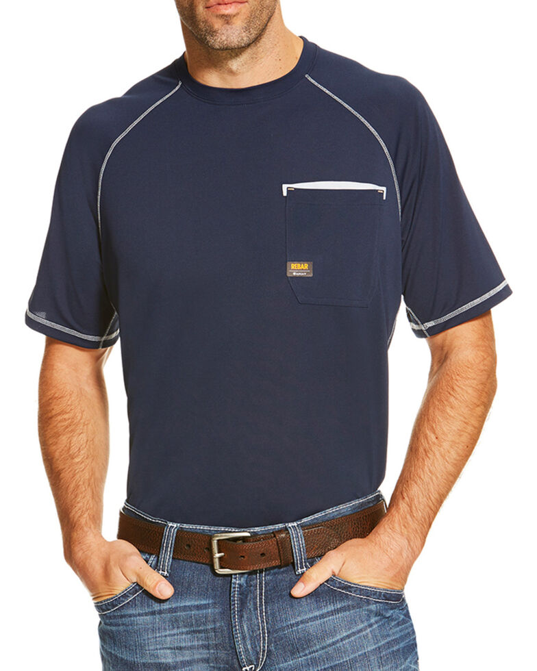 Ariat Men's Navy Rebar Sunstopper Pocket Short Sleeve Work T-Shirt , Navy, hi-res