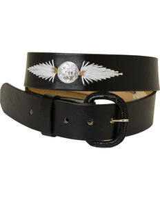 Western Express Men's Black White Lacing Leather Belt , Black, hi-res