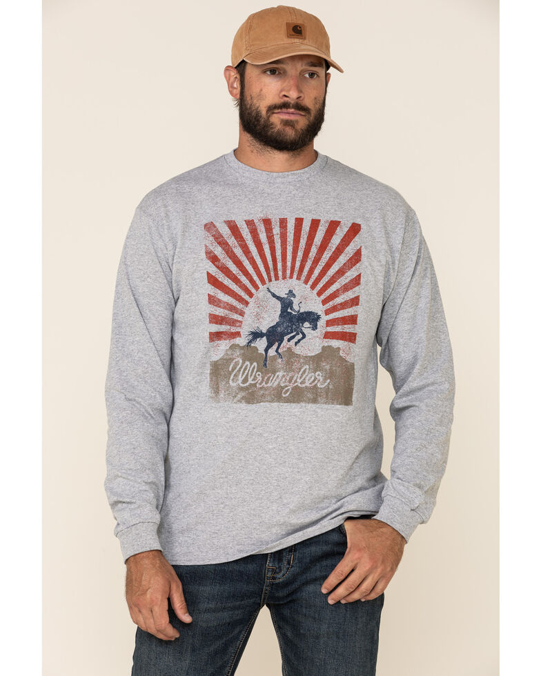 Wrangler Men's Rising Sun Horse Graphic Long Sleeve T-Shirt , Heather Grey, hi-res
