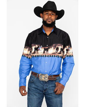 Ely Cattleman Men's Horse Border Print Long Sleeve Western Shirt , Black/blue, hi-res