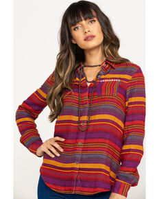 Rock & Roll Cowgirl Women's Rust Serape Stripe Aztec Embroidered Long Sleeve Western Shirt , Multi, hi-res