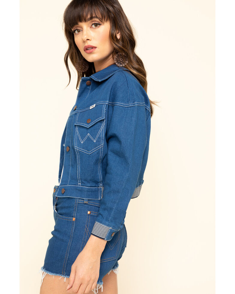 Wrangler Modern Women's Crop Rinse Denim Jacket , Blue, hi-res