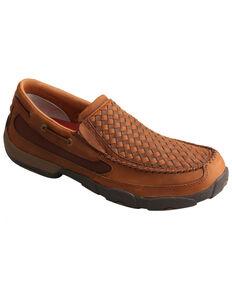 Twisted X Men's Basket Weave Slip-On Shoes - Moc Toe, Brown, hi-res
