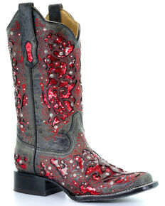 Corral Women's Sequin Inlay Western Boots - Square Toe, Black, hi-res