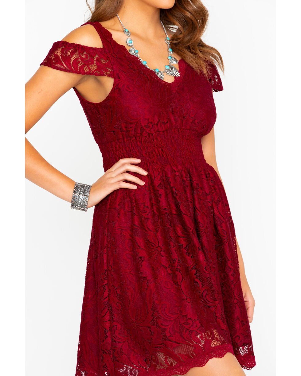 Shyanne Women's Lace Cold Shoulder Fit Dress , Burgundy, hi-res