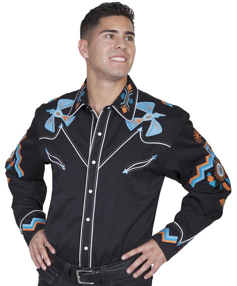 Scully Western Phoenix Shirt - Big Sizes (3XL - 4XL), Black, hi-res