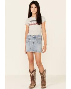 Rock & Roll Denim Girls' Light Wash Seamed Front Denim Skirt , Blue, hi-res