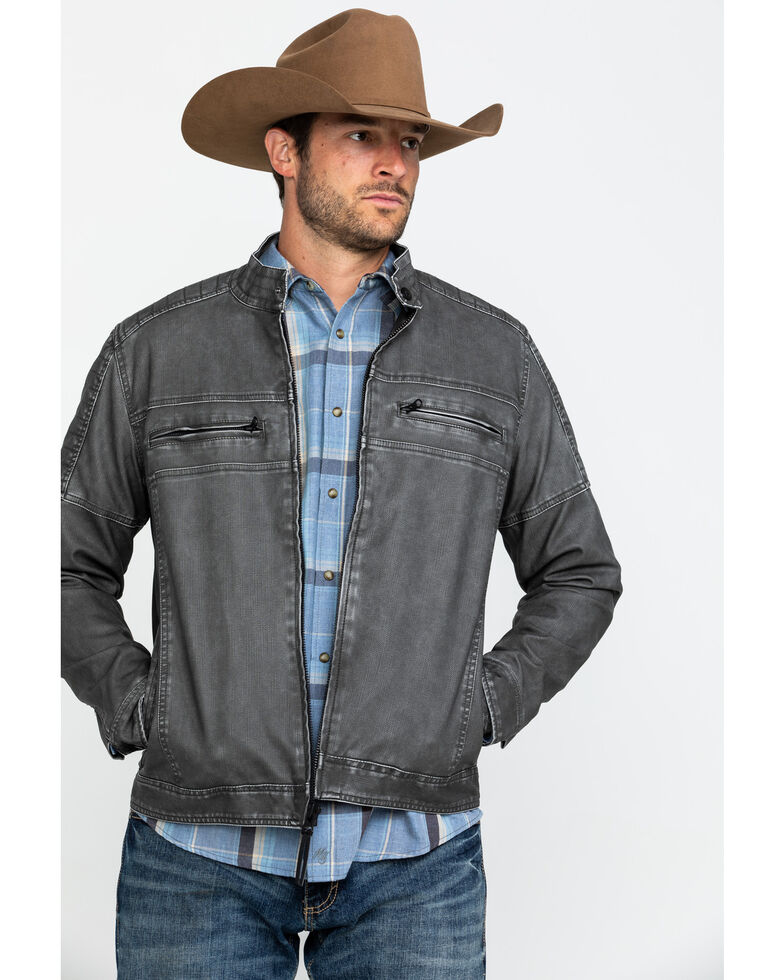 Moonshine Spirit Men's Gearhead Washed Faux Leather Moto Jacket , Black, hi-res