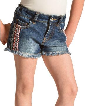 Shyanne Girls' Cutoff Americana Denim Shorts, Blue, hi-res