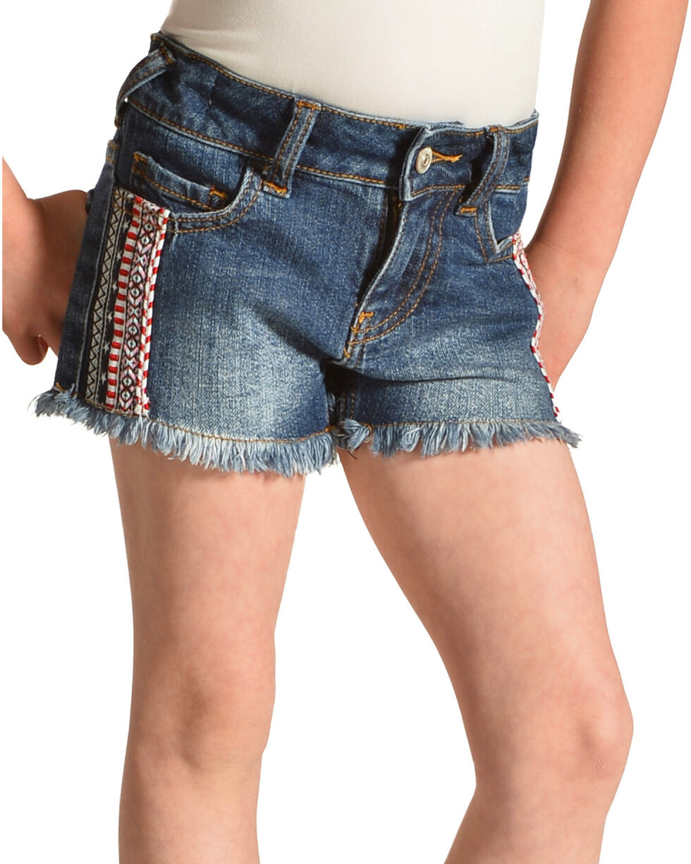 Shyanne Girls' Cutoff Americana Denim Shorts, Blue, hi-res