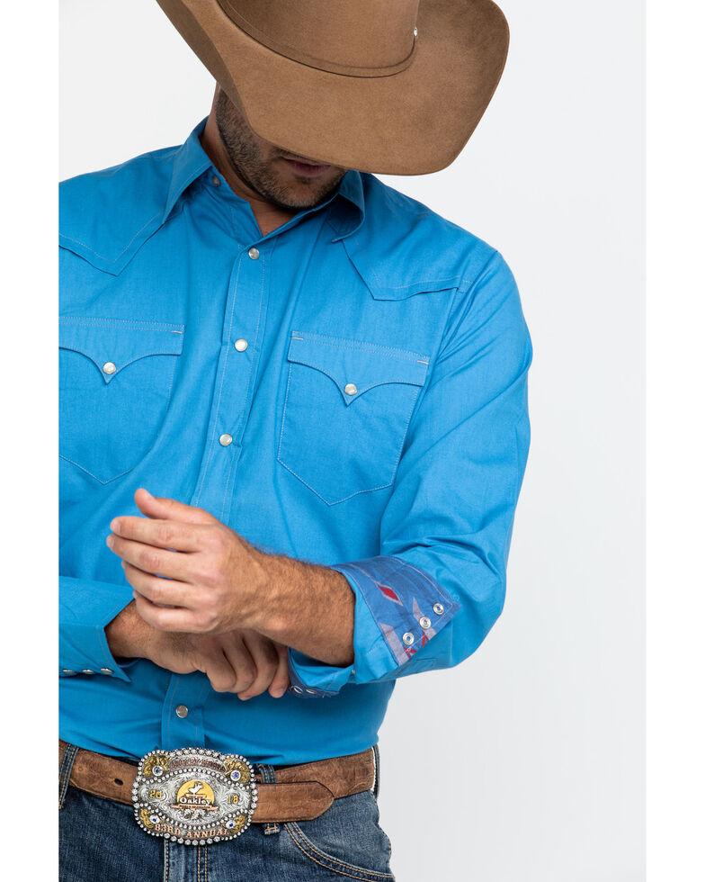 Roper Men's Made West Blue Solid Poplin Long Sleeve Western Shirt , Blue, hi-res