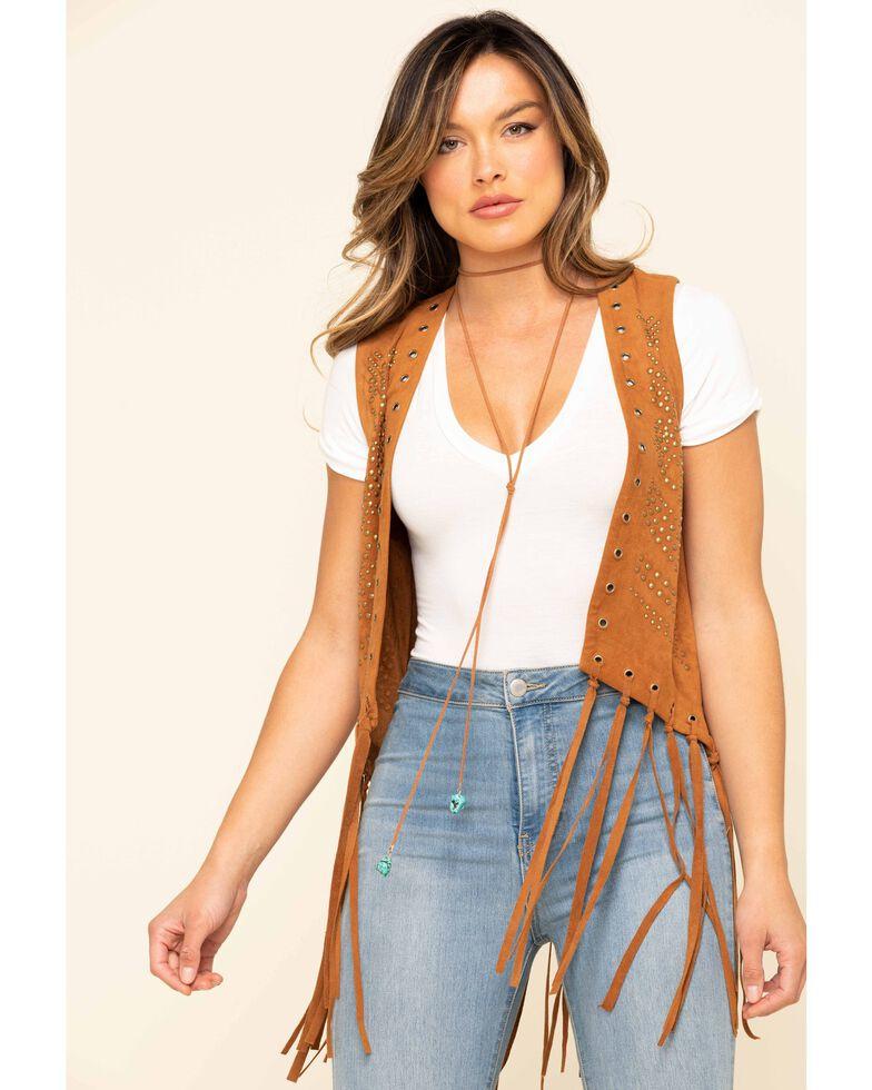 Fornia Women's Studded Fringe Vest, Camel, hi-res