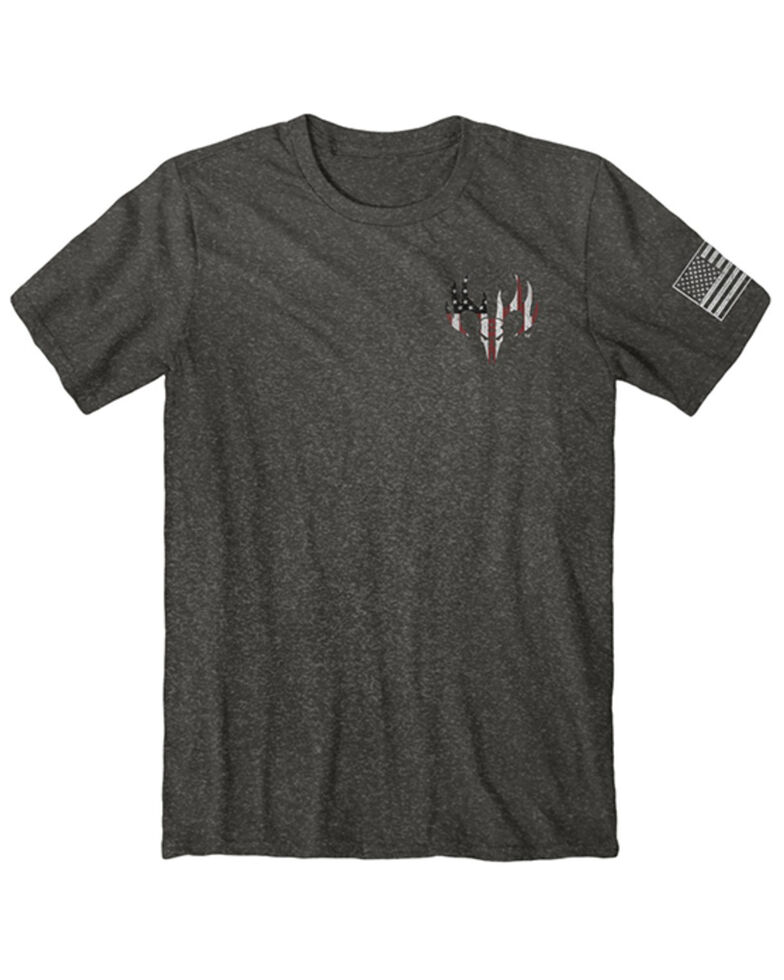 Buck Wear Men's Freedom Coin Flag Graphic Short Sleeve T-Shirt , Grey, hi-res