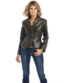 Cripple Creek Women's Coffee Bean Leather Jacket , Brown, hi-res