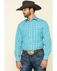 Stetson Men's Cross Walk Ombre Plaid Long Sleeve Western Shirt , Turquoise, hi-res