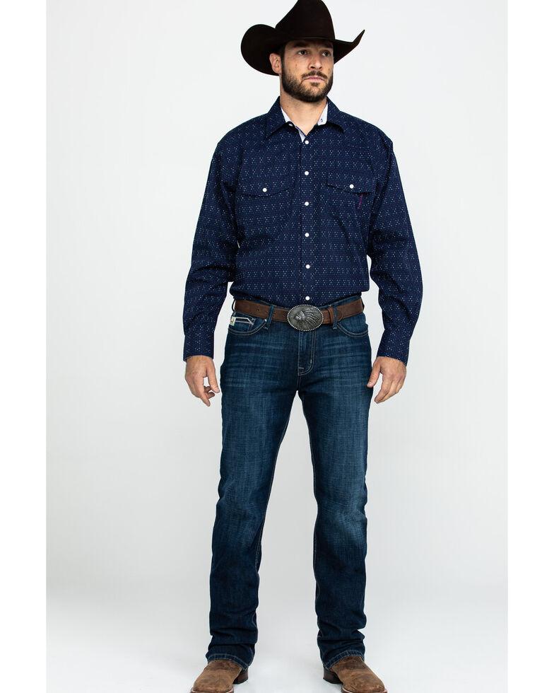 Resistol Men's Liberty Grove Geo Print Long Sleeve Western Shirt , Blue, hi-res