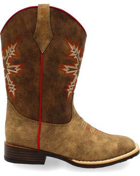 Double Barrel Boys' Clay Western Boots - Square Toe , Medium Brown, hi-res