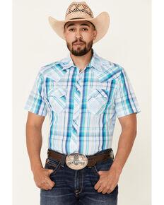 Wrangler Men's Blue Large Plaid Short Sleeve Snap Fashion Western Shirt , Blue, hi-res