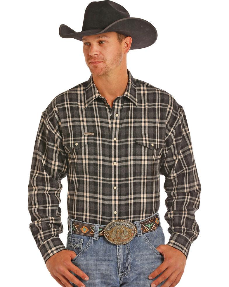 Powder River Men's Bandera Heather Brushed Twill Plaid Western Shirt, Charcoal, hi-res