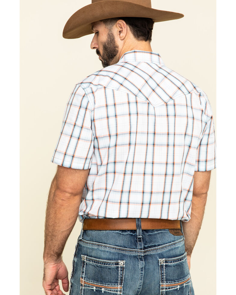 Cody James Men's Neon Glow Plaid Short Sleeve Western Shirt , White, hi-res