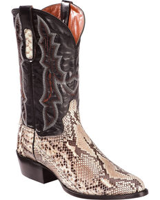 Dan Post Men's Natural Belly Cut Python Cowboy Boots - Medium Toe, Natural, hi-res