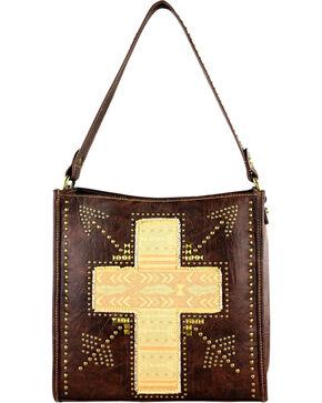 Montana West Spiritual Cross Vintage Print Handbag, Brown, hi-res